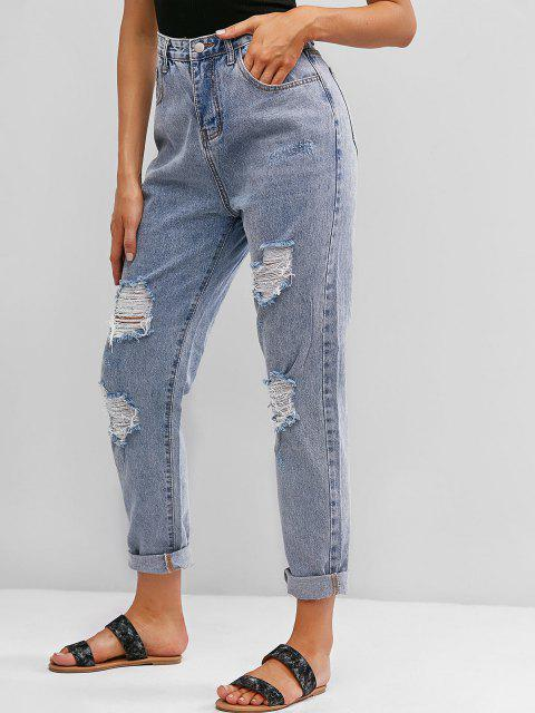 unique Ripped High Waisted Boyfriend Jeans - JEANS BLUE L Mobile