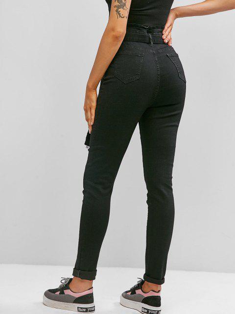 Jeans Ajustado Cintura Alta y Cinto - Negro M Mobile