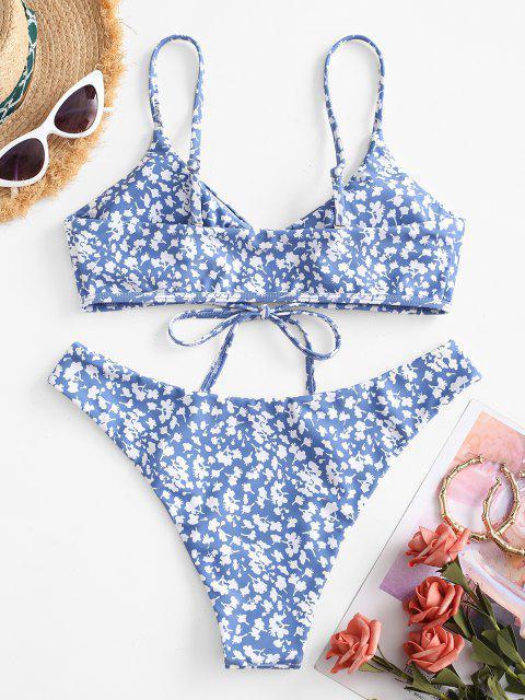 unique ZAFUL Ditsy Print Tie Front Bikini Swimwear - SKY BLUE M Mobile