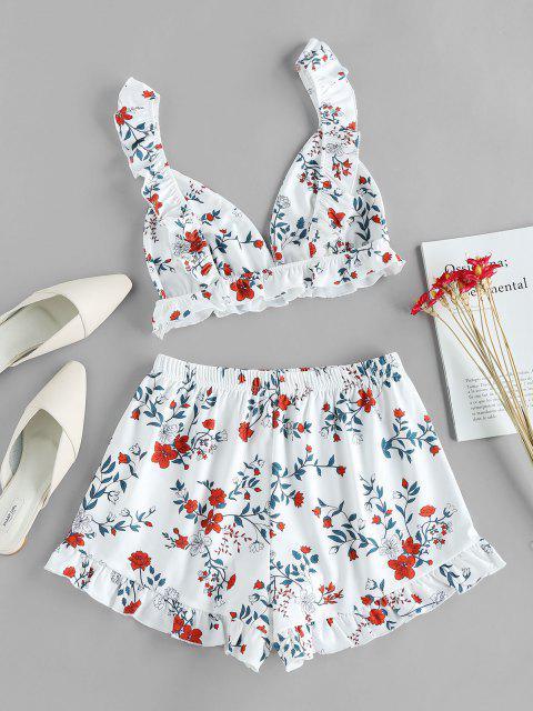 ZAFUL Conjunto de Shorts de Pernas Largas com Estampa de Flor - Branco M Mobile
