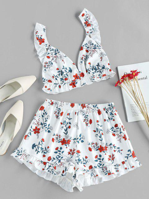 ZAFUL Flower Print Ruffle Wide Leg Shorts Set - أبيض S Mobile