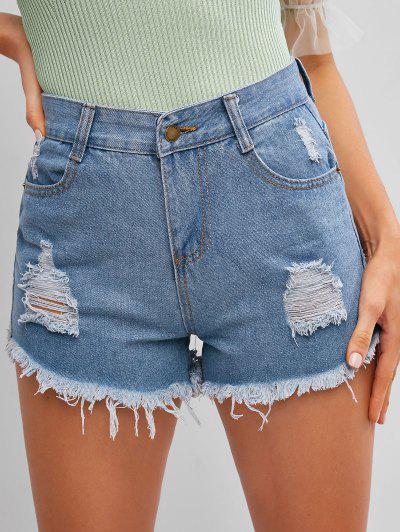 Pantaloncini In Denim Con Bordi Strappati - Blu Jeans  L