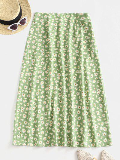 Daisy Flower Midi A Line Casual Skirt - Green M