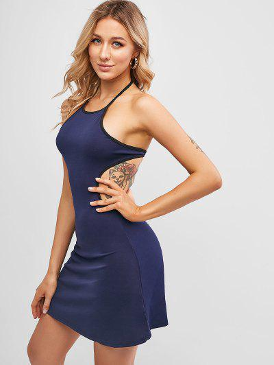 Halter Knotted Open Back Mini Dress - Midnight Blue S
