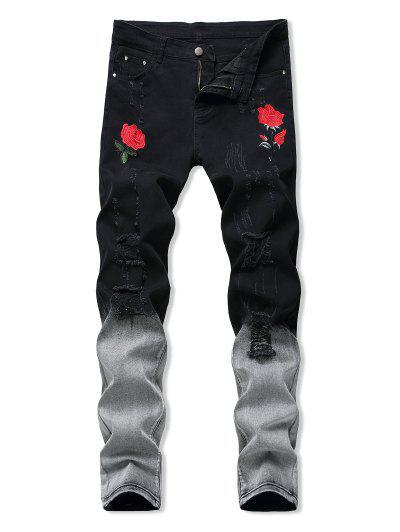 Blumen Bestickte Gerippte Stil Jeans - Aschgrau 32