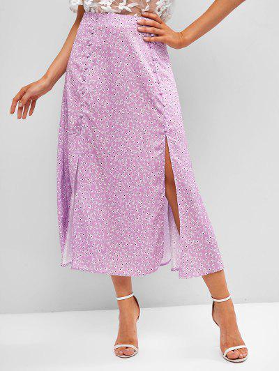 Ditsy Print Slit Mock Button Tea Length Skirt - Purple S