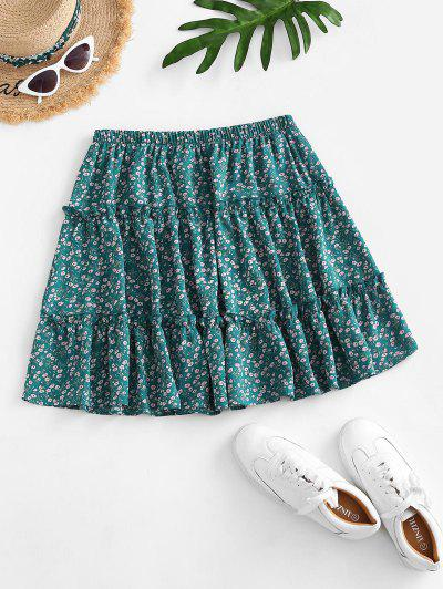 Ditsy Print Tiered Skirt - Green S