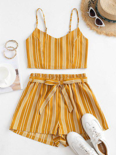 Striped Smocked Co Ord Set - Yellow M