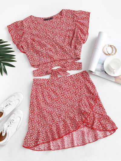 Ditsy Print Ruffle Wrap Two Piece Dress - Red M