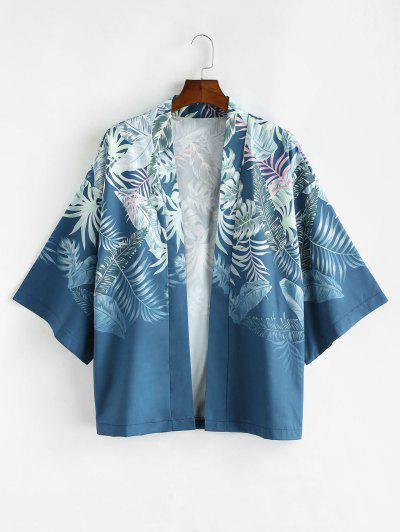 Tropical Plant Leaf Vacation Kimono Cardigan - Blueberry Blue Xl