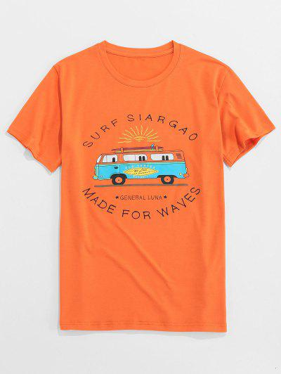 ZAFUL Letter Bus Print Short Sleeves T-shirt - Orange 2xl