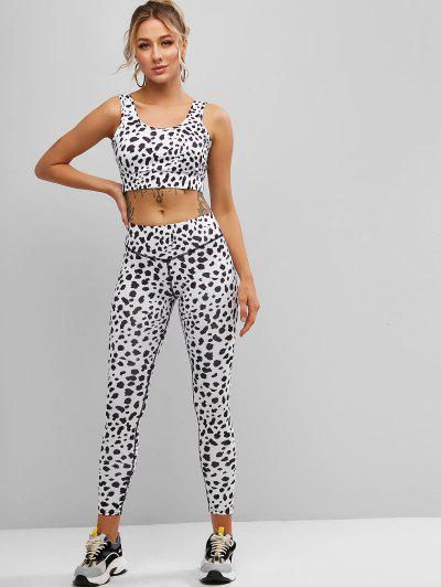 Cow Print Sport Crop Top And Leggings Set - White M