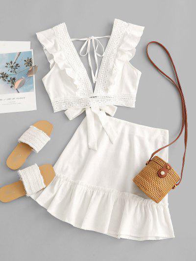 Ruffle Crochet Lace Panel Two Piece Dress - White M