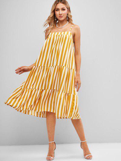 Robe Tunique Rayée à Bretelle Sans Dos - Jaune M
