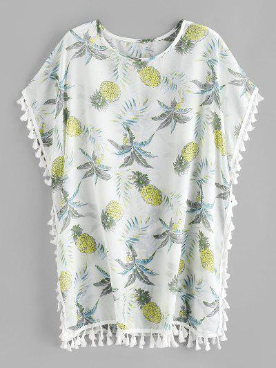 Tropical Pineapple Tassel Kaftan Dress - White