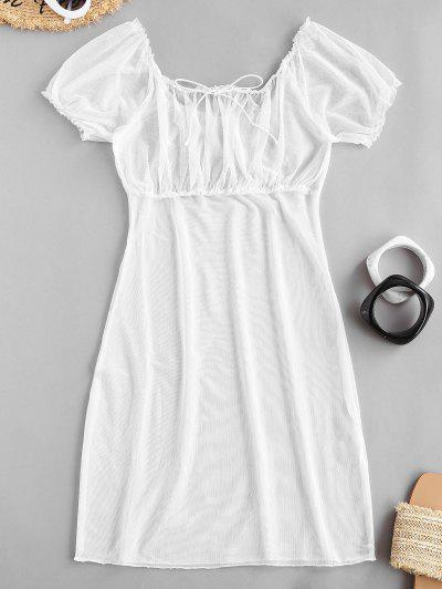 Frilled Sheer Mesh Dress - White S