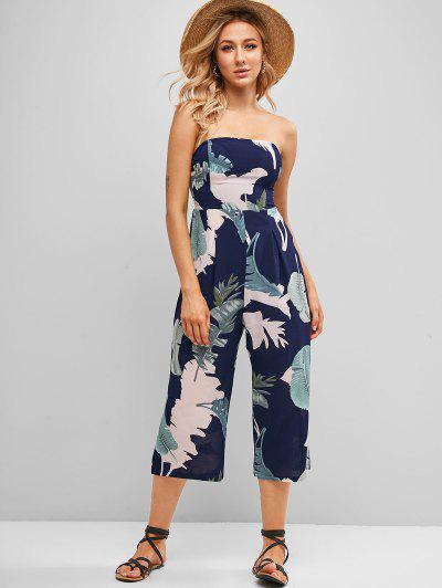 Smocked Back Leaves Print Strapless Jumpsuit - Midnight Blue L