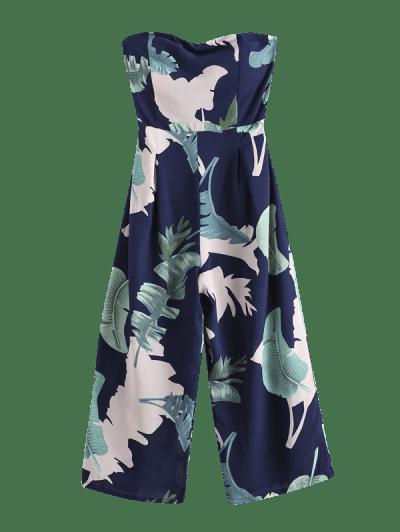 Smocked Back Leaves Print Strapless Jumpsuit