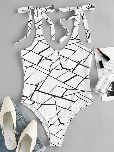 ZAFUL Tie Shoulder Geometric Print Bodysuit - White M