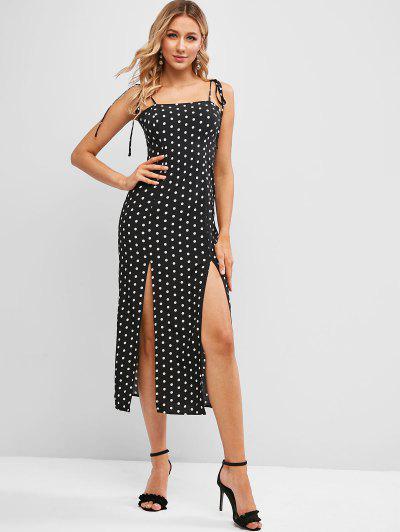 ZAFUL Polka Dot Slit Tie Strap Cami Dress - Black L