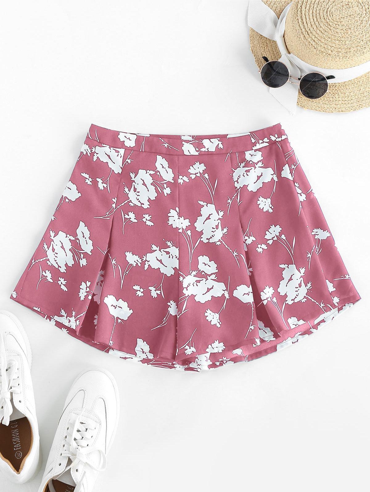 ZAFUL Flower High Waisted Wide Leg Shorts