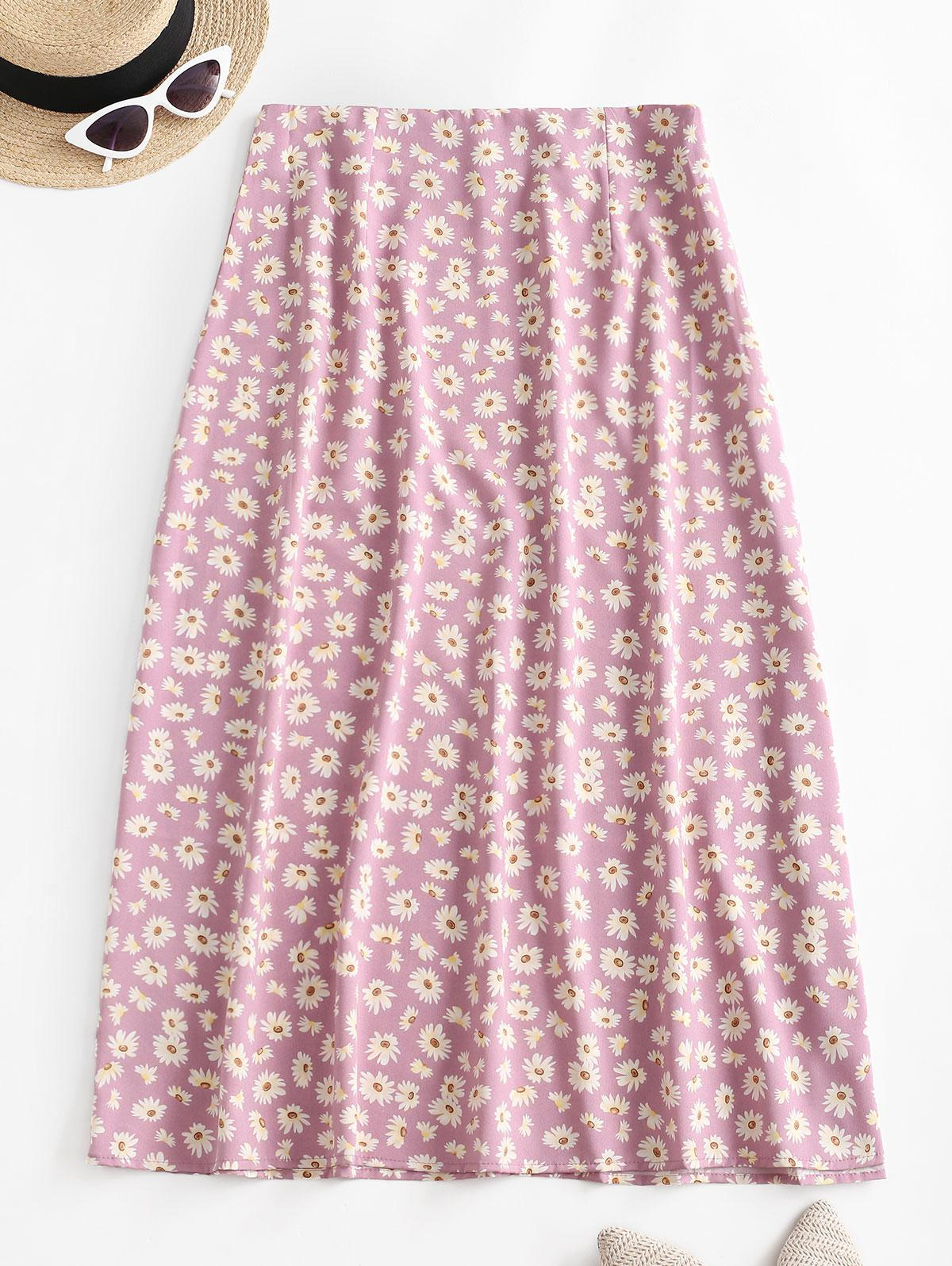 Daisy Flower Midi A Line Casual Skirt