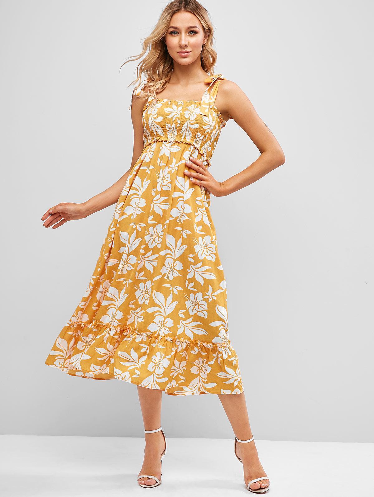 ZAFUL Tie Strap Flower Print Flounce Smocked Dress