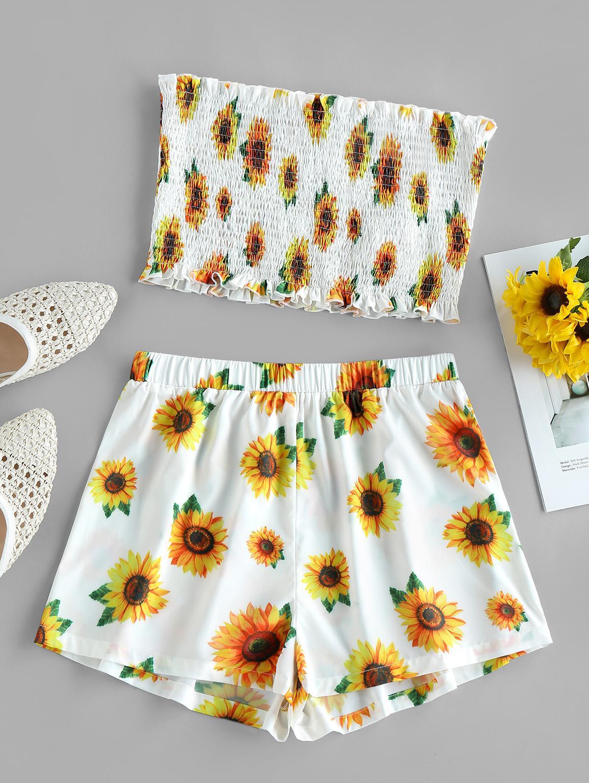 ZAFUL Sunflower Print Bandeau Smocked Ruffle Shorts Set