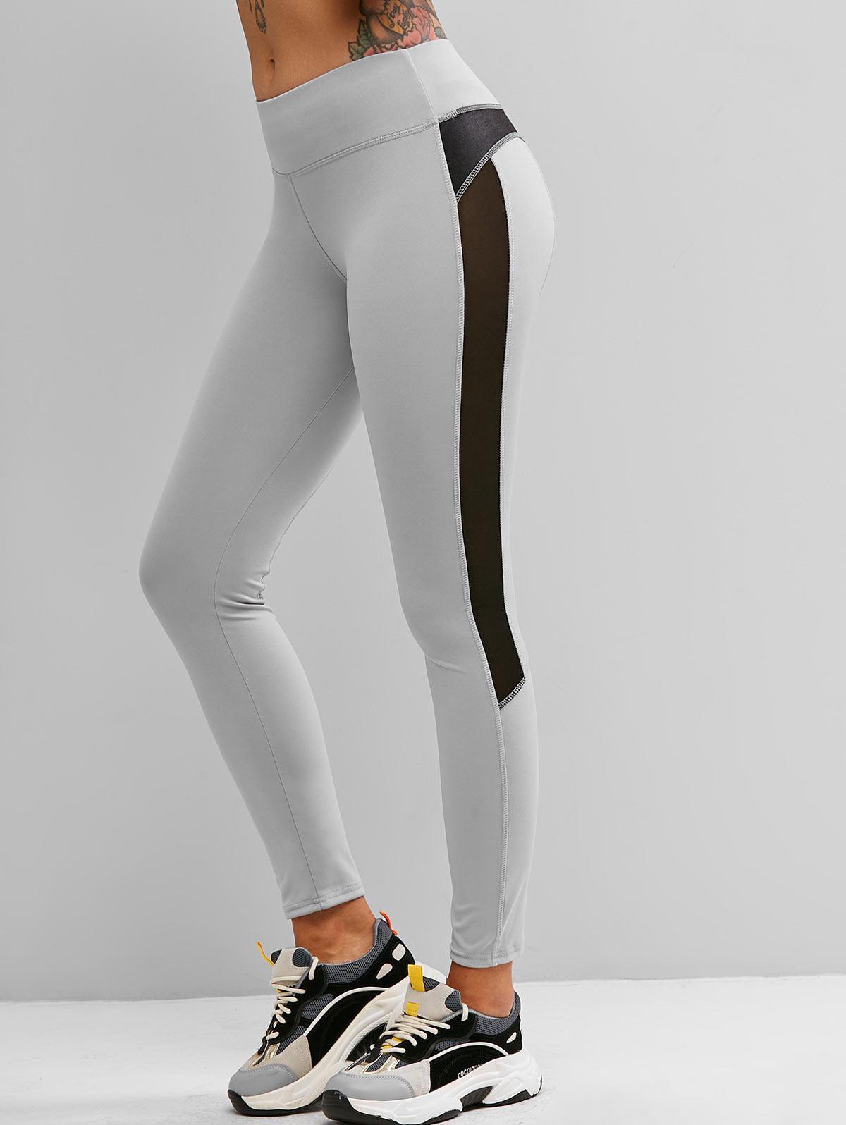 Mesh Insert Topstitching Skinny Leggings