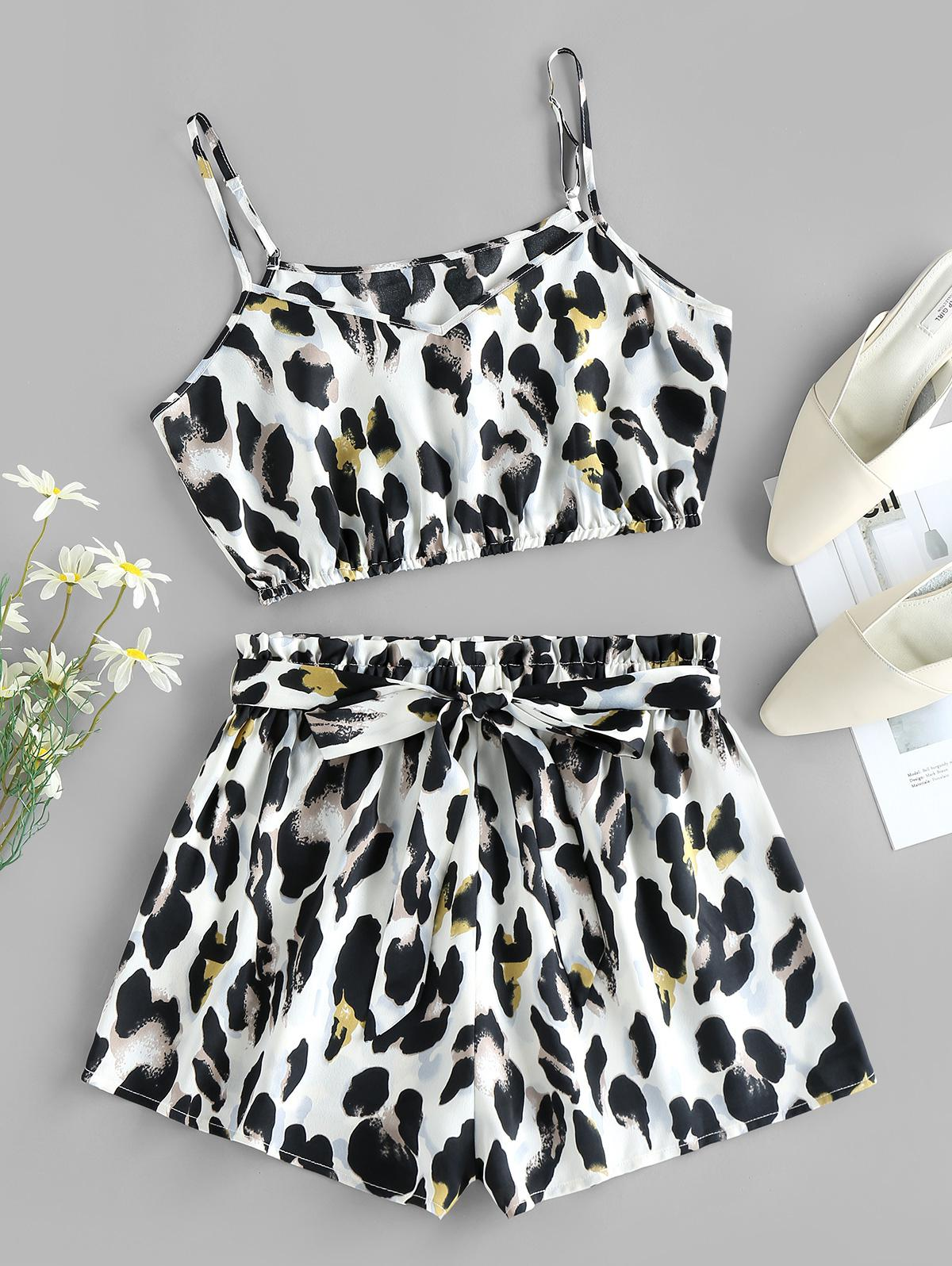 ZAFUL Leopard Cropped Belted Two Piece Set