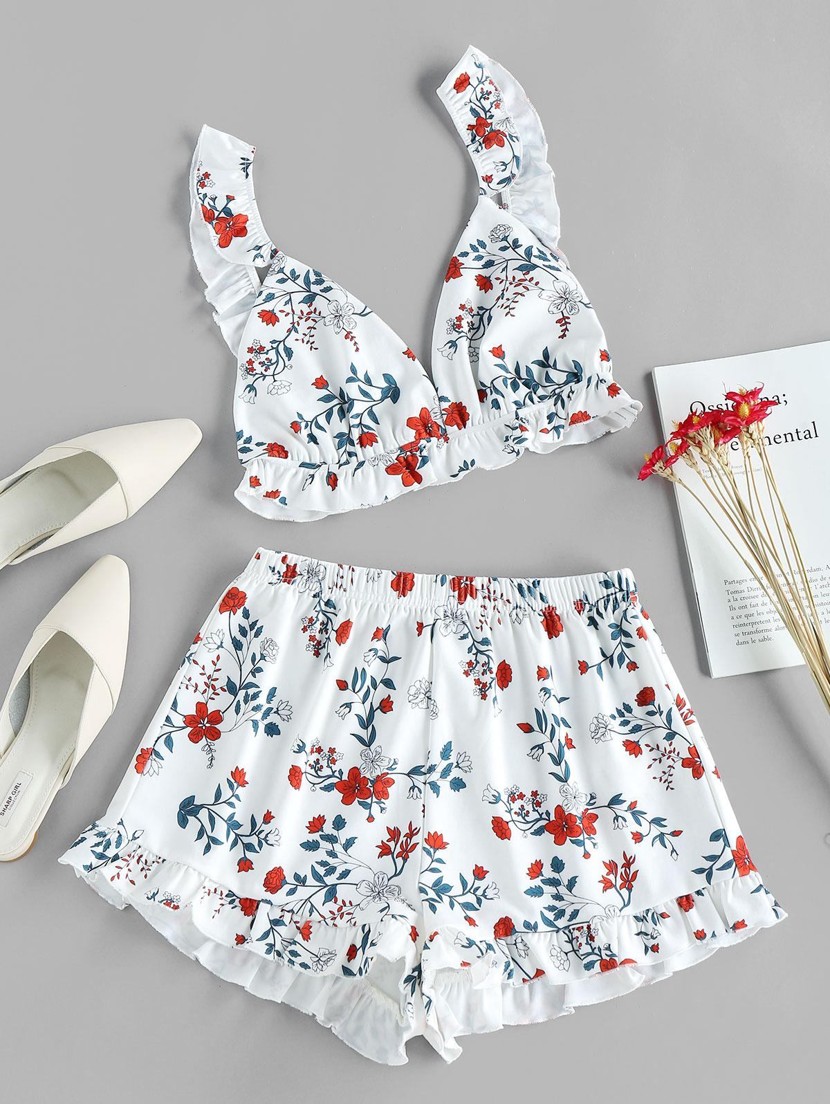 ZAFUL Flower Print Ruffle Wide Leg Shorts Set