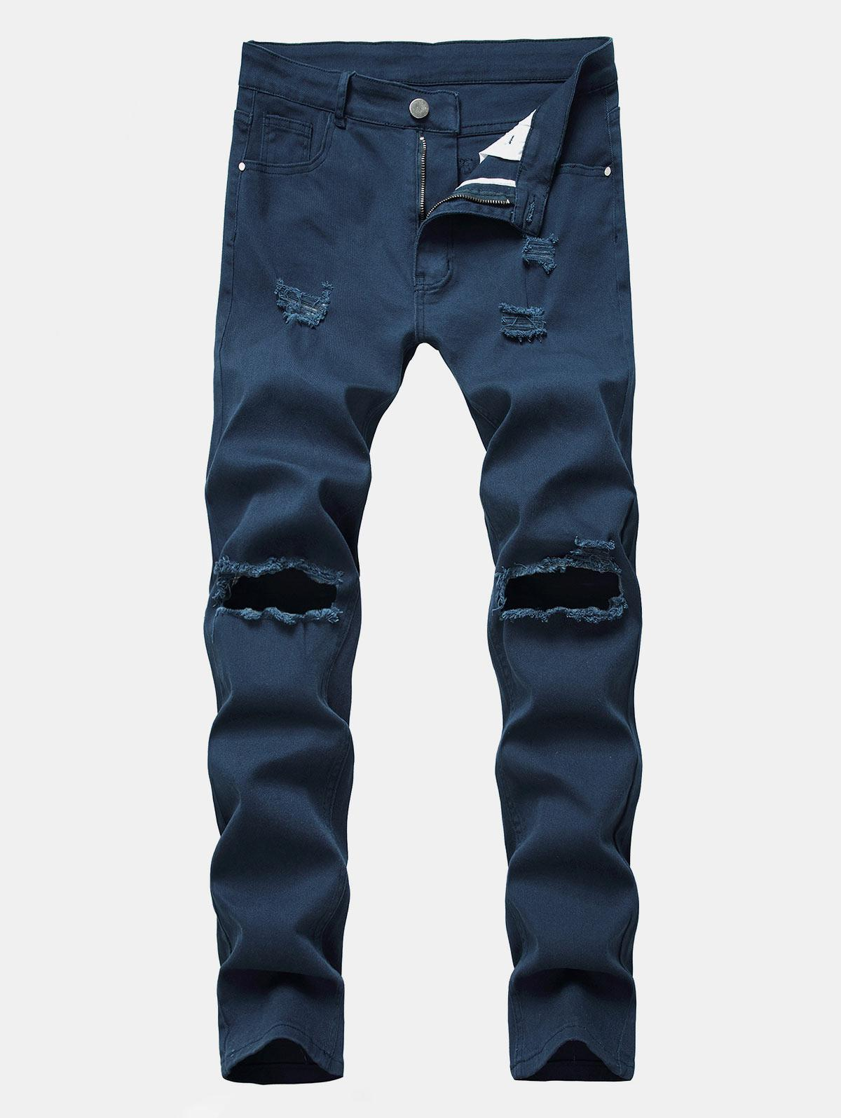 Solid Color Destroyed Zipper Jeans thumbnail