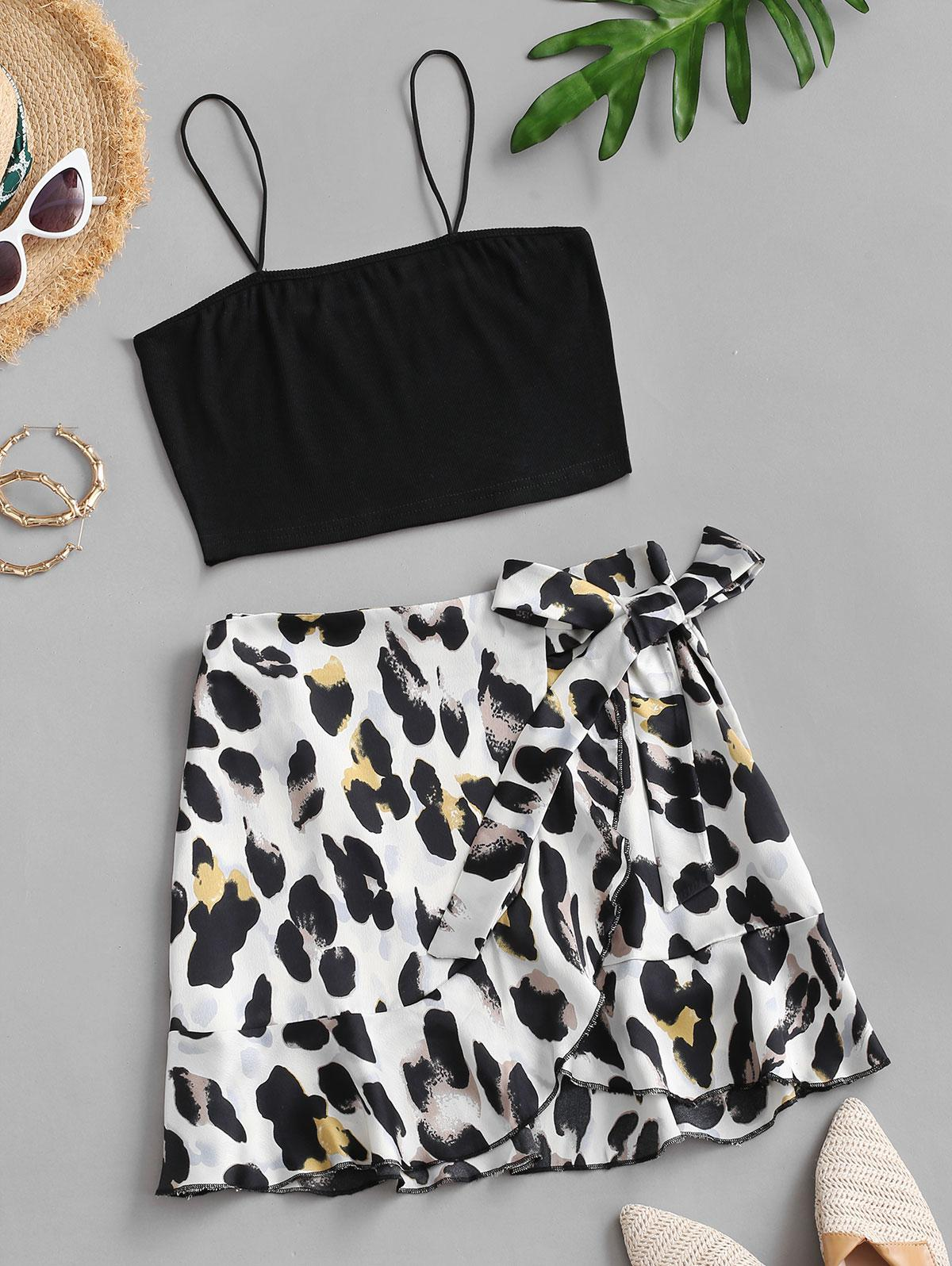 Ribbed Leopard Ruffle Two Piece Dress