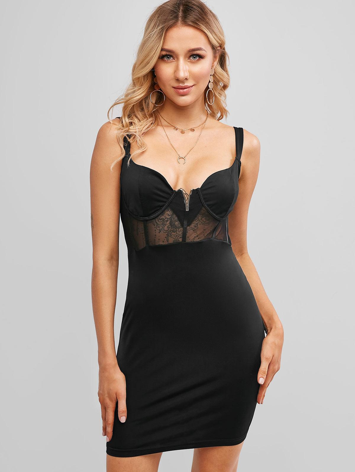 V-notch Mesh Panel Bodycon Dress