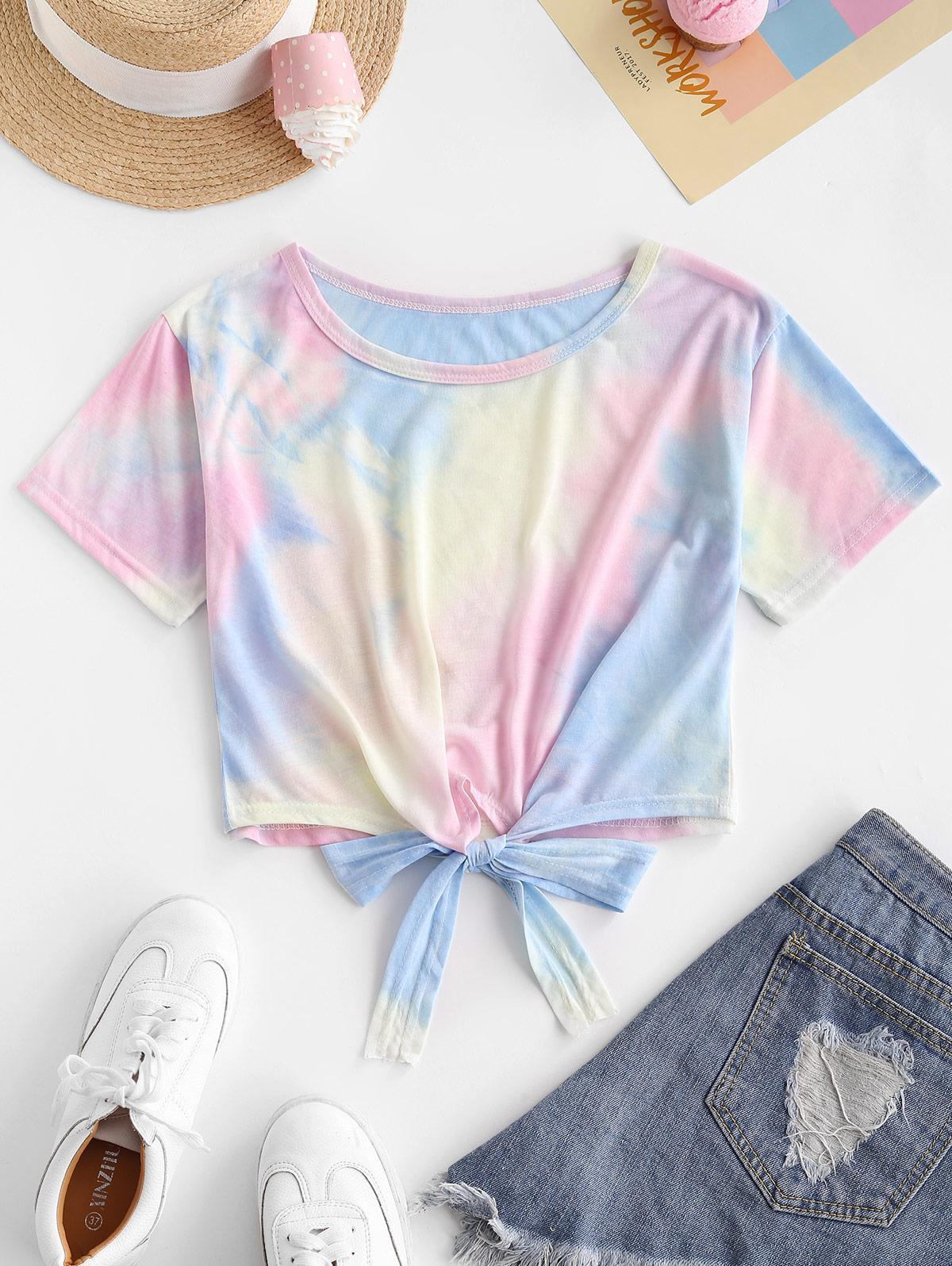Colorful Tie Dye Tie Hem Tee