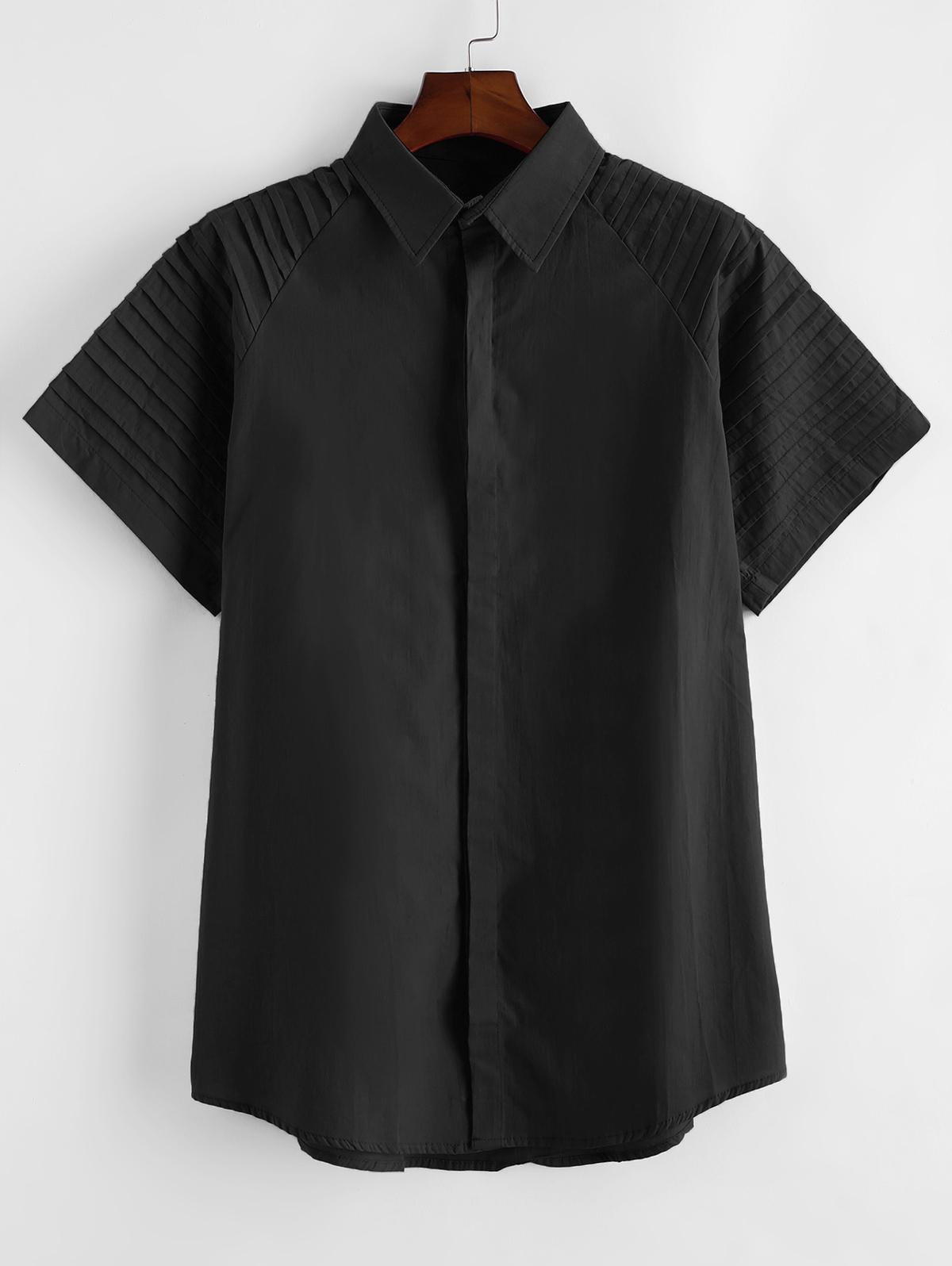 Pure Color Pleated Shoulder Button Up Shirt thumbnail