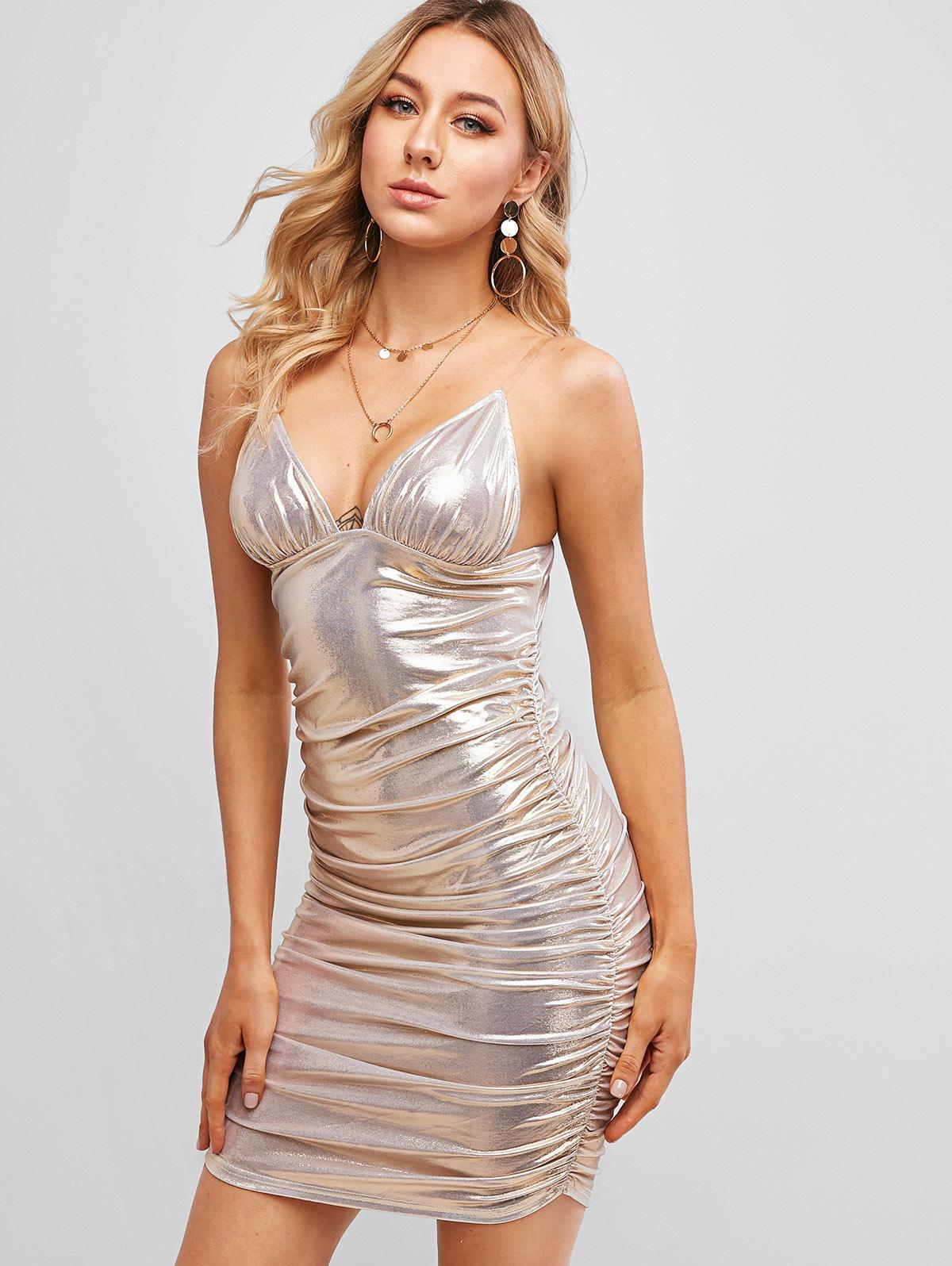 Gathered Side Glitter Bodycon Dress