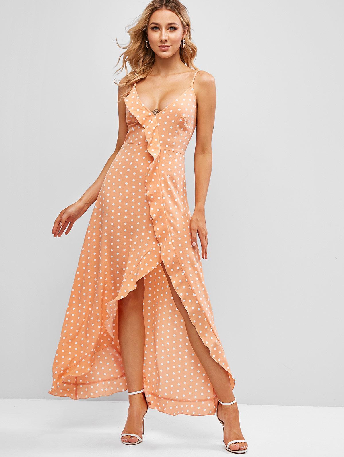 ZAFUL Polka Dot Ruffle Slit Maxi Cutout Cami Dress