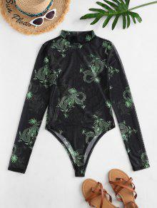 Mock Neck Dragon Print Mesh Bodysuit