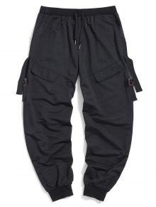 Letter Ribbon Flap Mock Pocket Jogger Pants