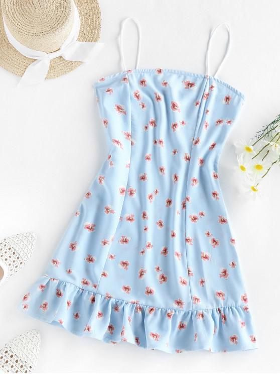 ZAFULCami Kleid mit Volant und Blumenmuster - Baby Blau S