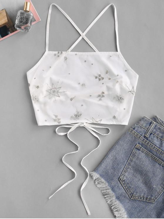 unique Embroidered Mesh Overlay Crisscross Cami Top - WHITE XL