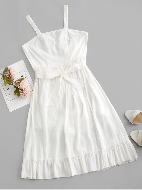 latest Crisscross Belted Ruffle Hem Backless Dress - WHITE S