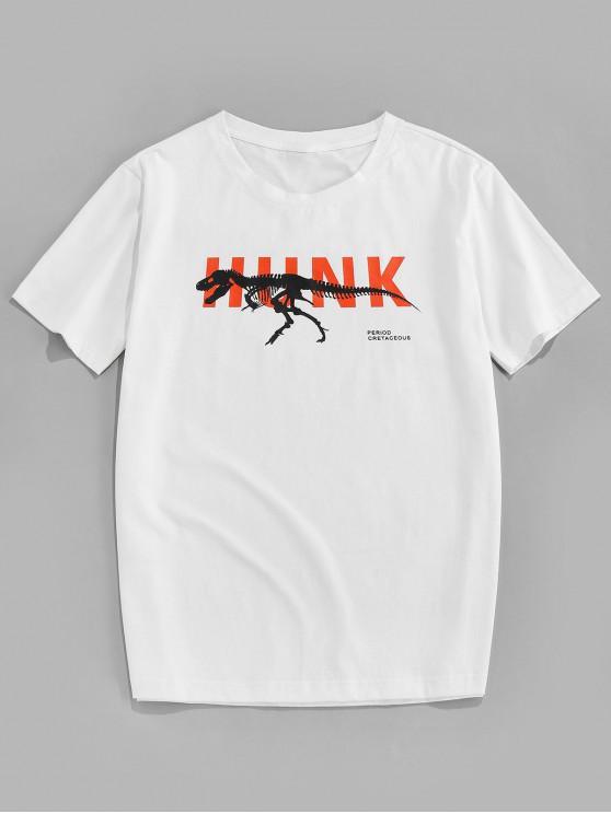 ZAFUL Dinosaur Letter Printed Short Sleeves T-shirt - أبيض 2XL