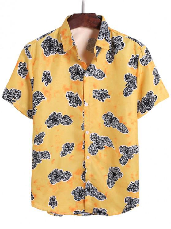 affordable Tie Dye Flower Leaf Print Vacation Shirt - BEE YELLOW 3XL