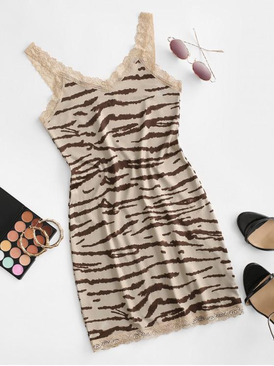 lady Lace Insert Tiger Print Bodycon Dress - TAN BROWN L
