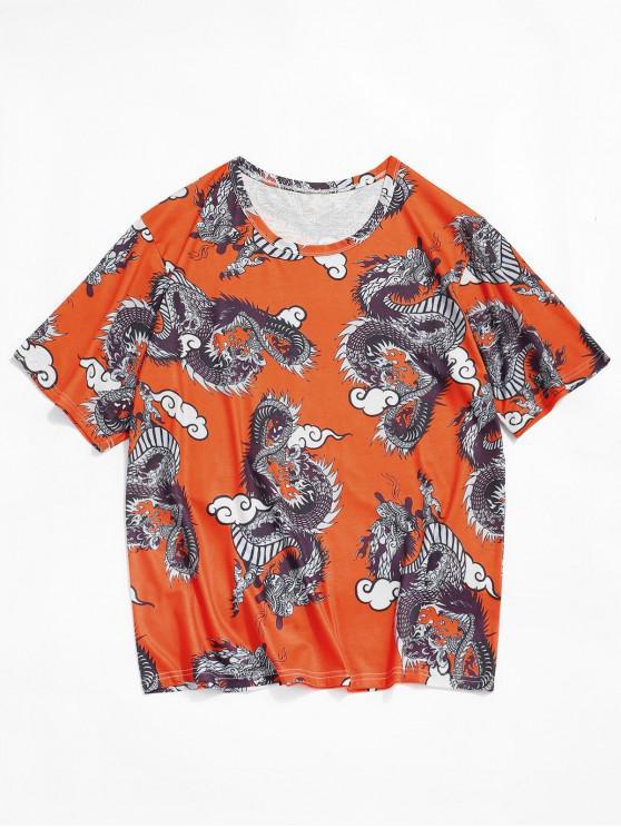 Dragon Print Oriental T-shirt - القرع البرتقال 2XL