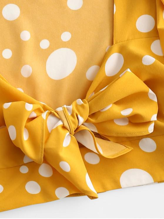 Polka Dot Tie Front Crop Blouse - Rubber Ducky Yellow M | ZAFUL