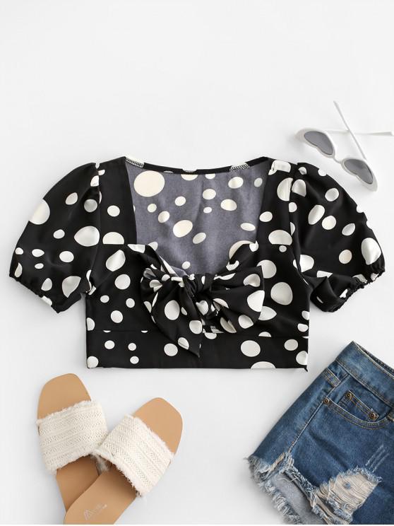 trendy Polka Dot Tie Front Crop Blouse - BLACK M