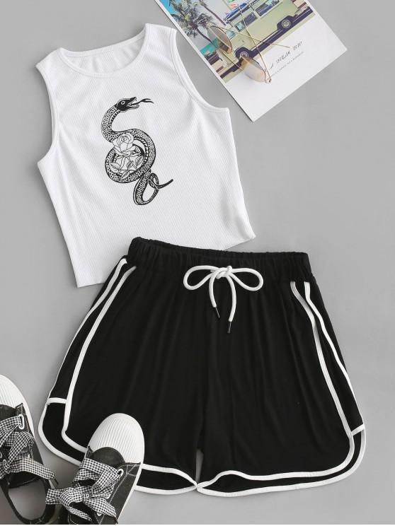 affordable Snake Rose Print Ribbed Dolphin Shorts Set - WHITE L